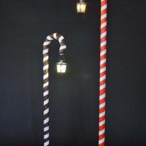 Cannes en sucre d'orge, luminaire, lanterne, brune et blanche, rouge et blanche