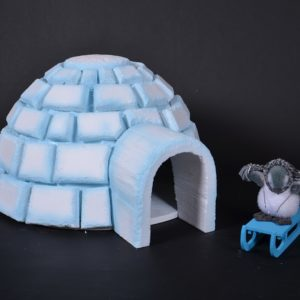 igloo, décoration hivernale, pingouins, luge
